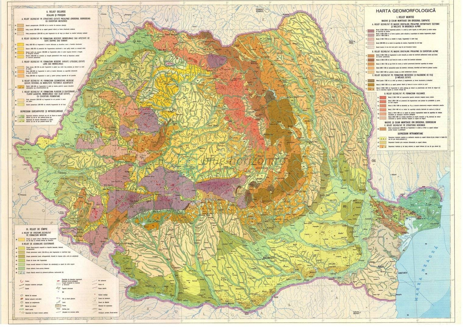 Harta Harta Geomorfologica A Romaniei